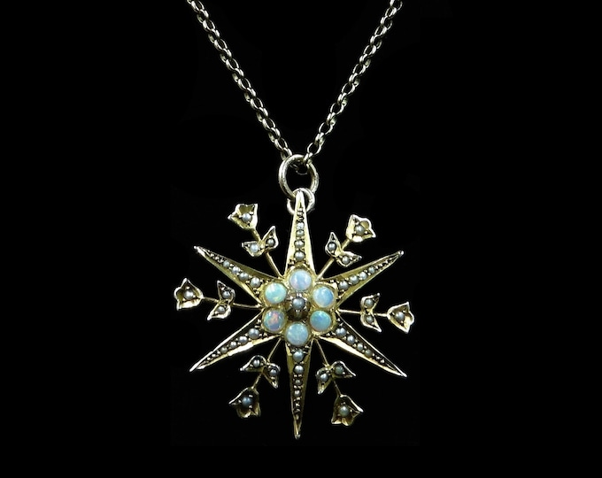 Antique Victorian Opal and Pearl Star 9ct 9K Yellow Gold Pendant Necklace | Circa. 1890