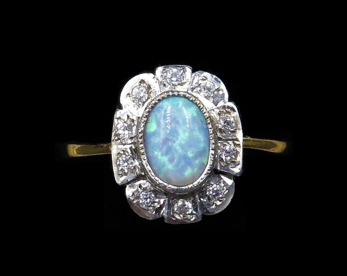 Opal and Paste Halo Rectangle Cluster 18ct Gold Gilded Silver Ring | Art Deco Style