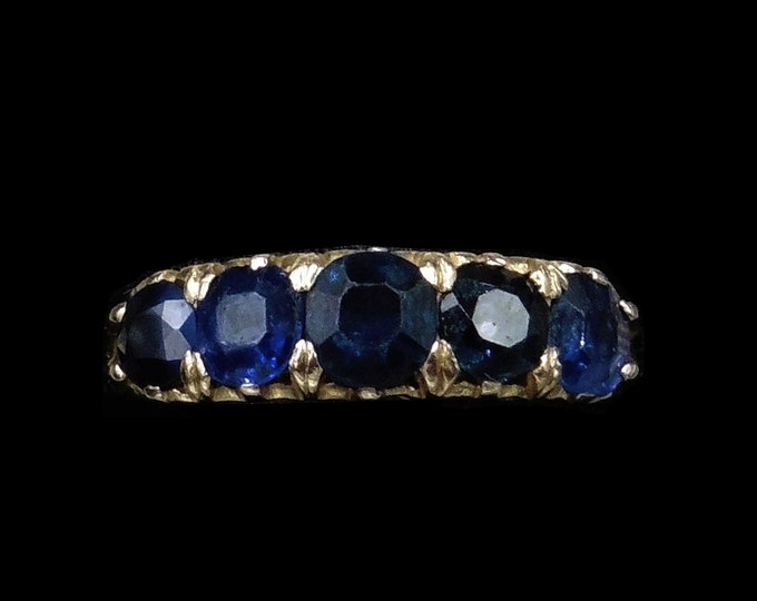 Antique Blue Sapphire Five Stone 18K 18ct Yellow Gold Ring Band | Circa. 1890