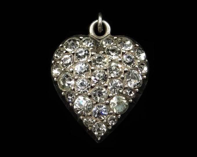 Antique Victorian Old Cut Paste Sterling Silver Puffy Heart Pendant Charm | Circa.1860
