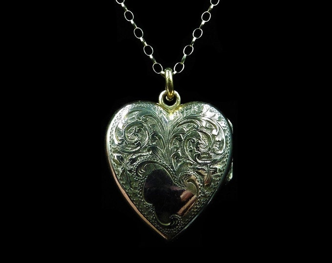 Antique Victorian Engraved Heart Locket Pendant and 9ct Gold Chain Necklace | Circa.1890