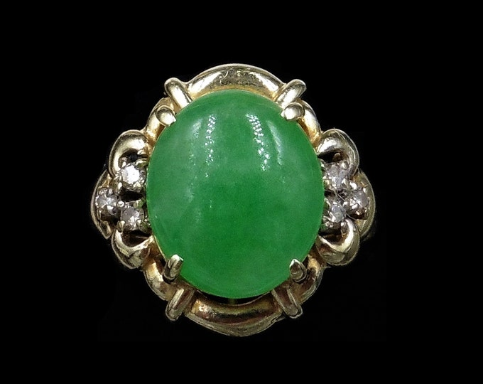 Vintage Green Chrysoprase and Diamond 14ct 14K Yellow Gold Ring | Cocktail Ring