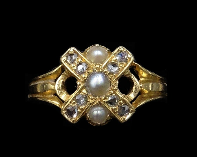 Antique Victorian Rose Cut Diamond and Pearl 'X' Cross 18ct 18K Yellow Gold Ring | Circa.1880