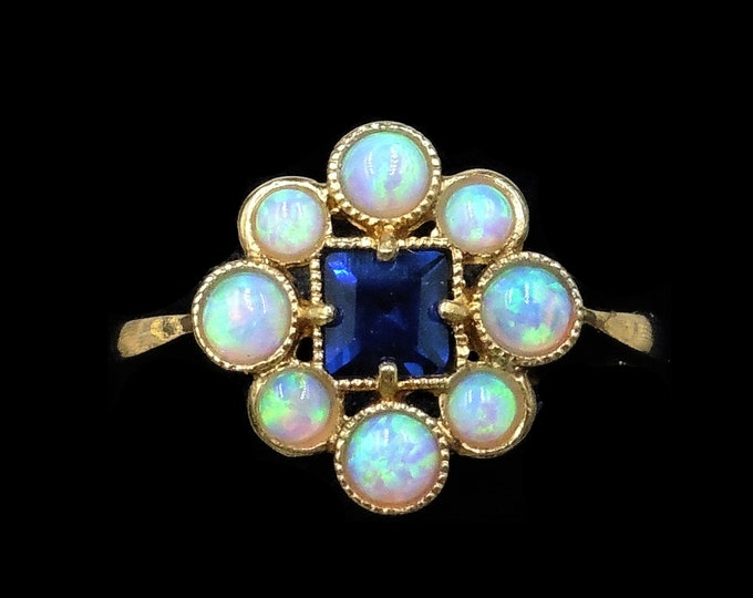 Opal and Blue Sapphire Paste Cluster 18ct 18K Yellow Gold Gilded Silver Ring | Antique Art Deco Style