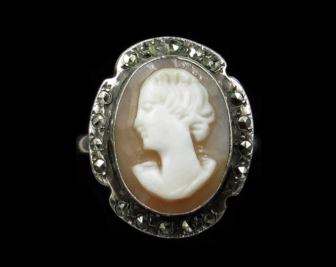 Vintage Portrait Shell Cameo and Marcasite Oval Silver Ring   Art Deco