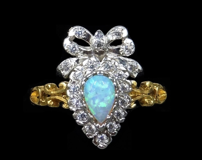 Opal and Paste Heart Bow 18ct 18K Yellow Gold Gilded Silver Ring   Antique Style