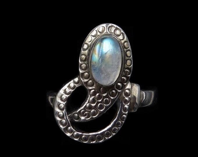 Vintage Moonstone Snake Serpent Statement Sterling Silver Ring   Colourful Moonstone