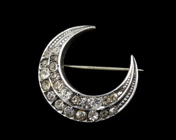 Antique Victorian Old Cut Paste Sterling Silver Crescent Moon Brooch Pin | Circa.1890