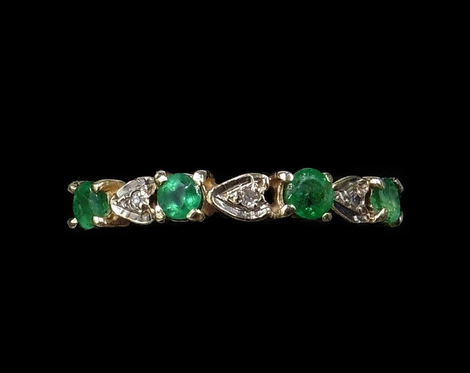 Vintage Emerald and Diamond 9ct 9K Yellow Gold Stack Band Ring | Birmingham 1991
