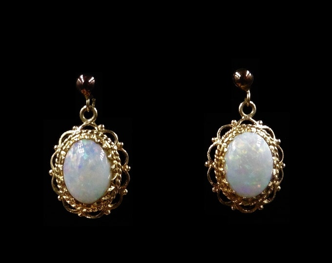 Vintage Opal Oval Drop Dangle 9ct 9K Yellow Gold Earrings