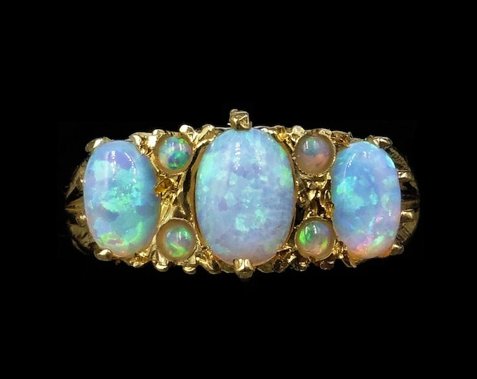 Opal Scroll Trilogy 18ct 18K Yellow Gold Gilded Silver Ring | Antique Victorian Style