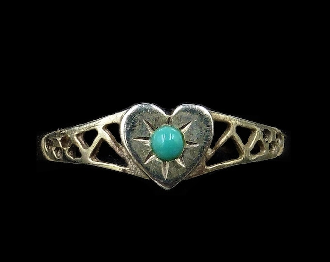 Turquoise Heart Signet 18ct 18K Gold Gilded Ring Band | Antique Victorian Style