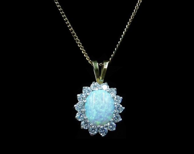 Opal and Paste Oval Cluster Halo 18ct Yellow Gold on Silver Pendant and Chain Necklace | Antique Style