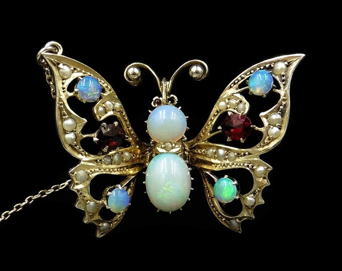 Antique Victorian Natural Opal, Red Paste and Pearl Silver Gilt Gold Butterfly Insect Brooch Pin | Circa.1900