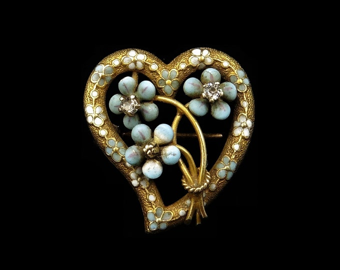 Antique Victorian Diamond Turquoise Enamel 'Forget Me Not' Witches Heart 14K Gold Brooch Pin   Circa.1890