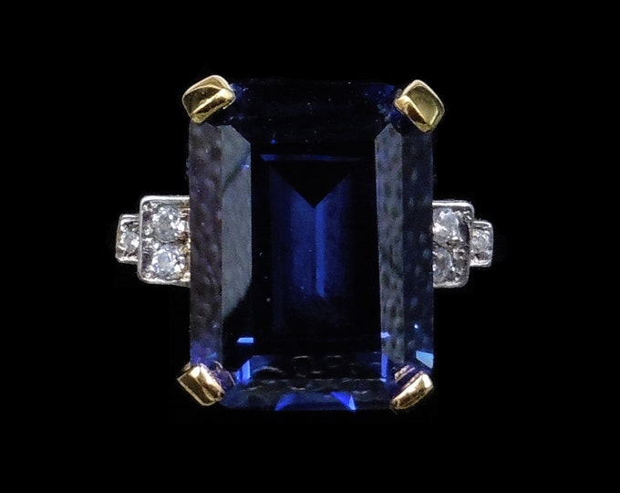 Art Deco Style Blue Paste 18ct 18K Gold Gilded Statement Cocktail Ring