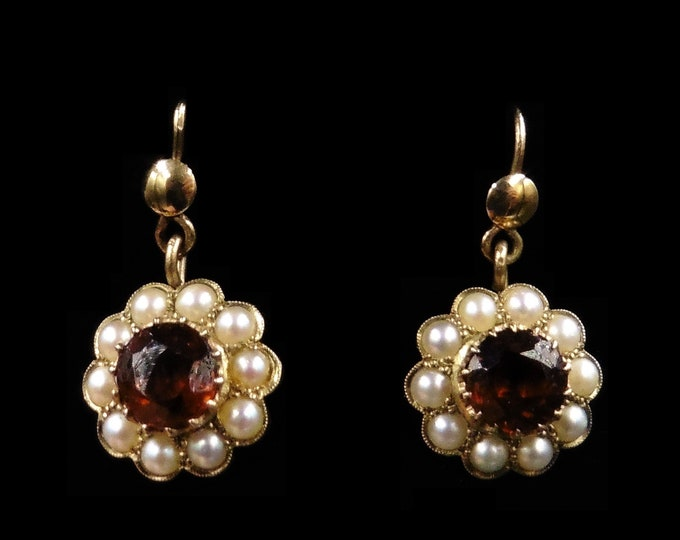 Antique Garnet and Pearl Halo Cluster 9ct 9K Yellow Gold Drop Earrings | Victorian