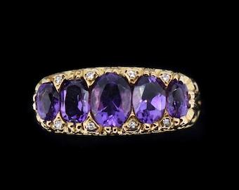 Vintage half eternity amethyst diamond ring 9k 9ct gold size 7.5 PURPLE RAIN