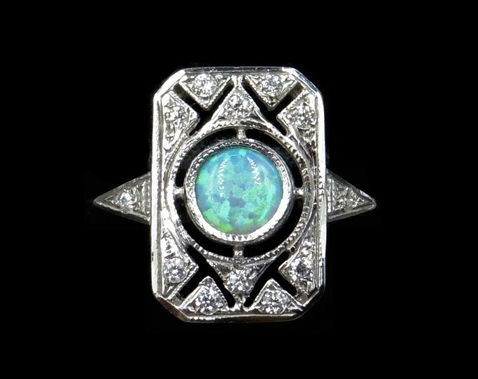 Opal and Paste Rectangle Cluster 18ct 18K Gold Gilded Silver Ring | Art Deco Style