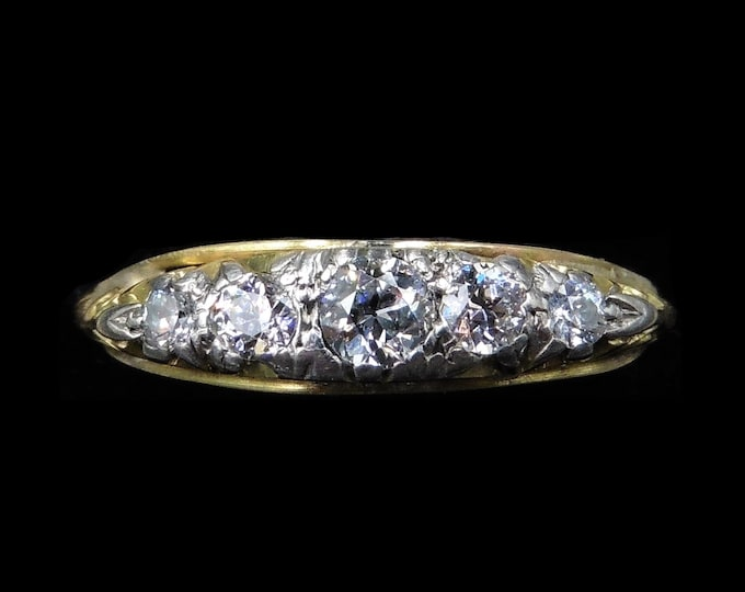 Antique Victorian Old Cut Diamond Five Stone 18K 18ct Yellow Gold Scroll Ring Band | Circa.1890