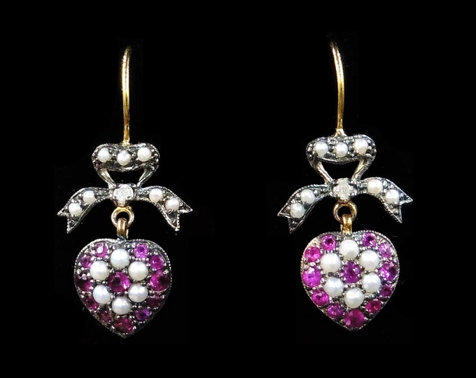 Ruby Pearl and Diamond Heart Bow Drop Dangle 18ct Yellow Gold Earrings   Antique Victorian Style