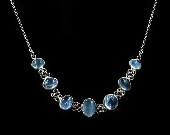"Antique Moonstone Sterling Silver Necklace | Vintage | 20"" Length"