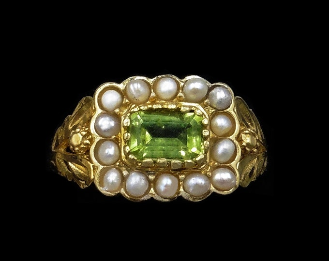Peridot and Pearl Cluster Halo 18ct 18K Yellow Gold Gilded Ring   Antique Georgian Style