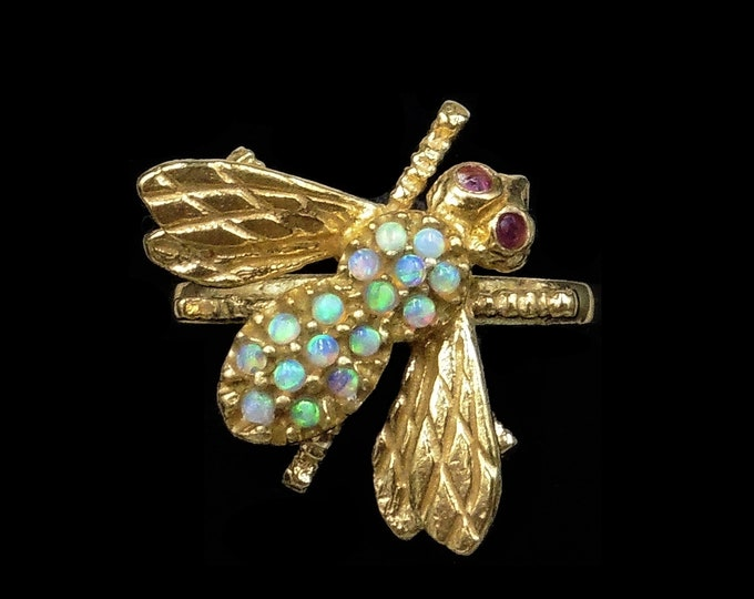 Opal and Ruby Bee Insect Fly 18ct 18K Yellow Gold Gilded Silver Ring | Antique Vintage Style