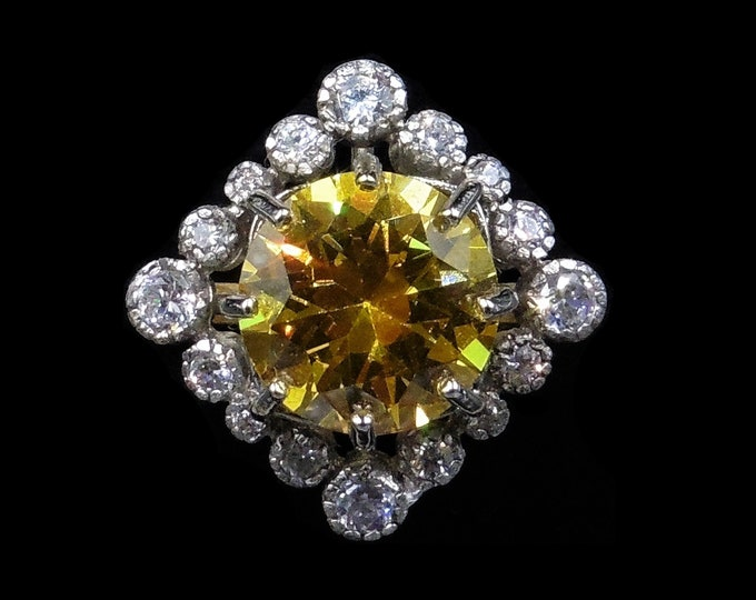Yellow Citrine Paste Cluster 18ct 18K Yellow Gold Gilded Silver Ring | Antique Art Deco Style