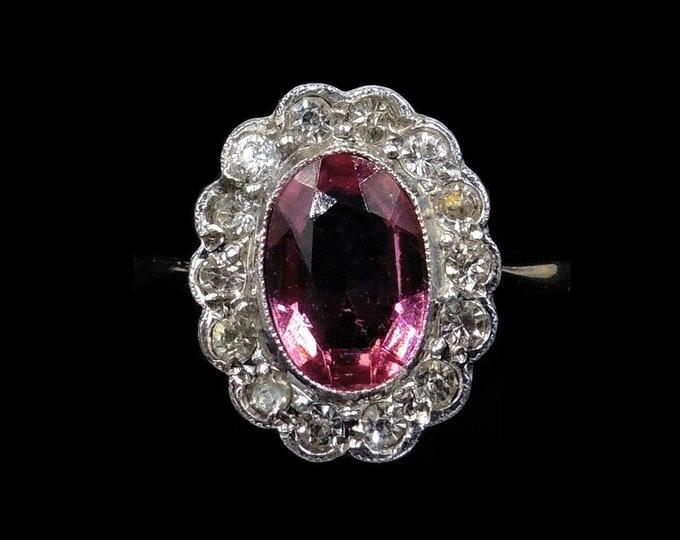 Antique Pink Paste Oval Cluster Halo 9ct 9K Yellow Gold and Silver Ring   Vintage Art Deco