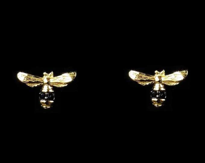 Bumble Bee Black Rhinestone 18ct Gold Gilded Silver Stud Earrings | Insect Earrings