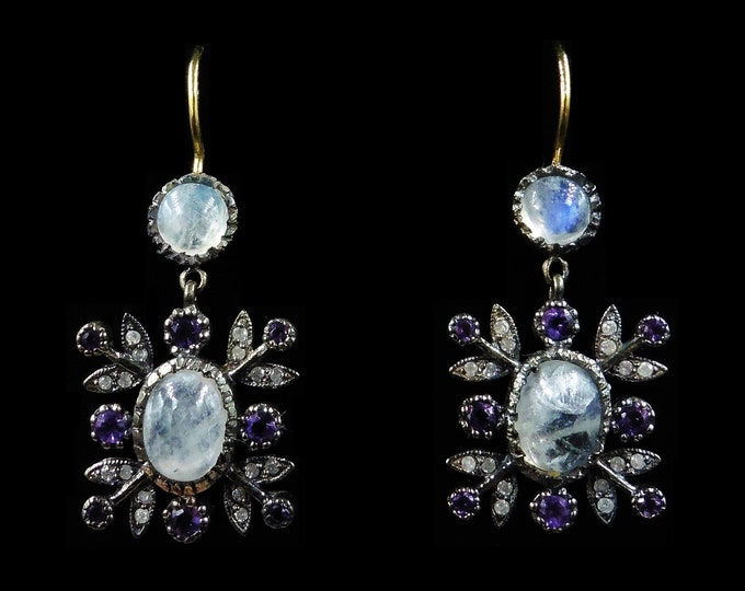 Moonstone Amethyst and Diamond 18ct Yellow Gold and Silver Drop Earrings | Antique Style