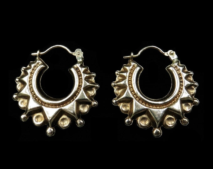 Vintage Creole Hoop 9ct 9K Gold Earrings | Antique Victorian Style