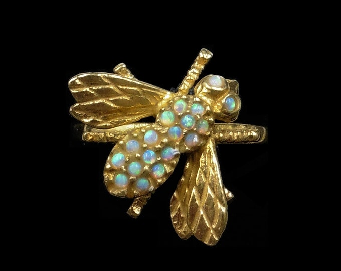 Opal Bee Insect 18ct 18K Yellow Gold Gilded Silver Ring | Antique Vintage Style