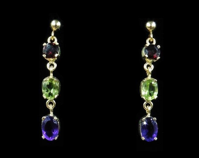 Garnet Peridot and Amethyst 18ct Gold Gilded Drop Dangle Earrings