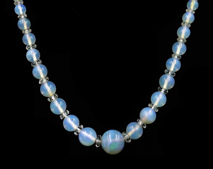 Vintage Opaline Opal 9ct 9K Yellow Gold Beaded Necklace | Art Deco c.1920 | 18""