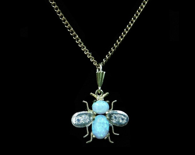 """Opal Honey Bee Insect Bug 18ct 18K Yellow Gold Gilded Drop Pendant and Chain Necklace 