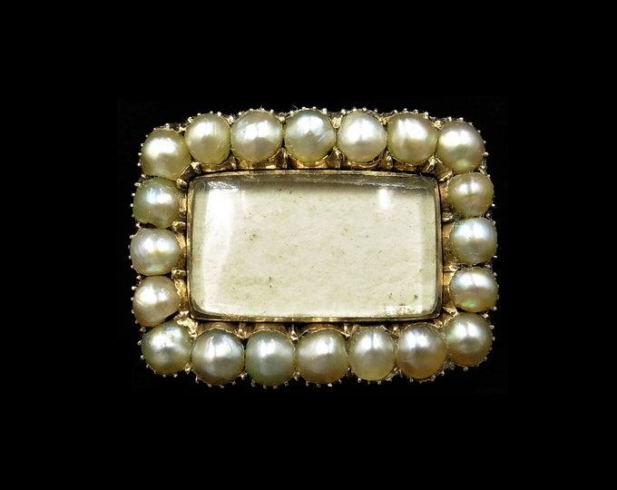 Antique Georgian Pearl 15ct 15K Yellow Gold Lace Mourning Pin Brooch | Circa. 1820