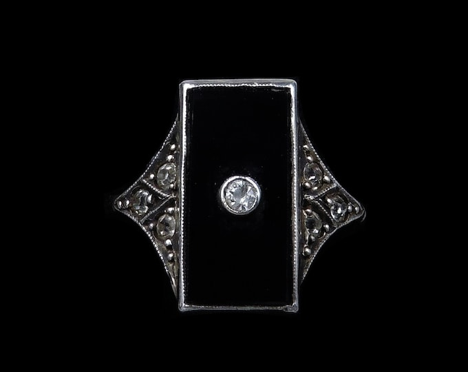 Art Deco Black Onyx and Paste Oblong Panel 9ct 9K Gold and Silver Ring | Antique Circa.1920