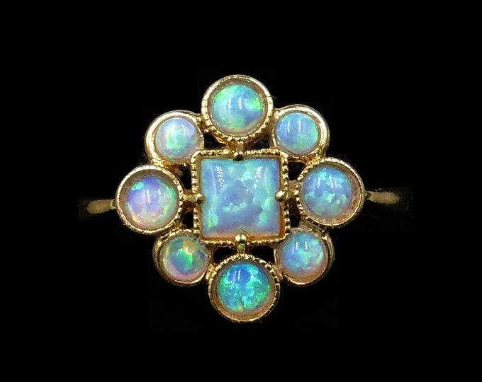 Opal Cluster Flower 18ct Yellow Gold Gilded Silver Ring | Antique Art Deco Style