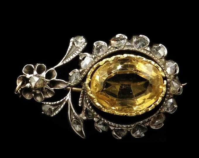 Antique Georgian Rose Cut Diamond and Citrine Halley's Comet Silver and Gold Brooch Pin | Circa. 1835