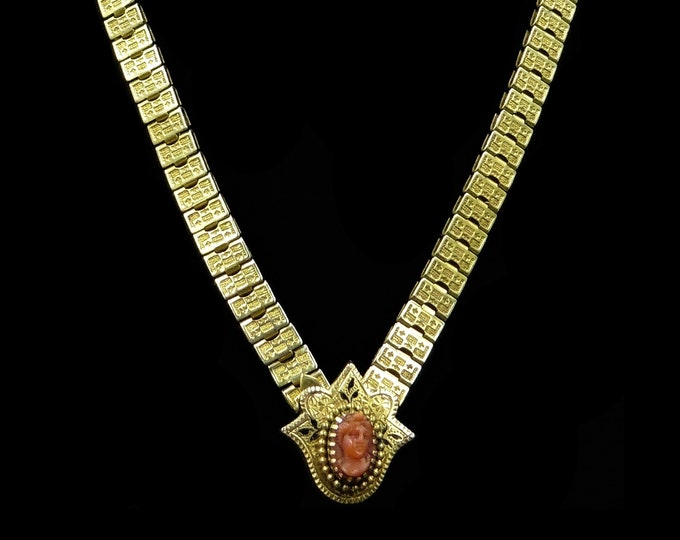 Antique Victorian Natural Coral Cameo Yellow Gold Fill Necklace | 17""