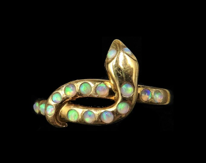 Opal Snake Serpent 18ct 18K Yellow Gold Gilded Silver Ring | Antique Victorian Style
