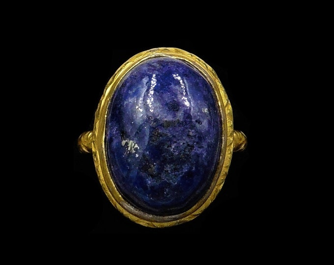 Vintage Blue Lapis Lazuli Statement Oval Yellow Gold on Silver Ring | Art Deco