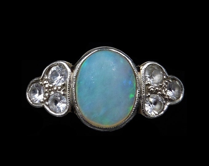 Antique Opal and White Sapphire Bezel Set Cluster 18ct 18K Gold Ring   Circa.1910
