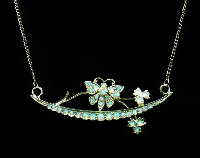 Opal Gem-set Butterfly and Crescent Moon 18ct 18K Yellow Gold Gilded Silver Pendant Necklace | Antique Victorian Style