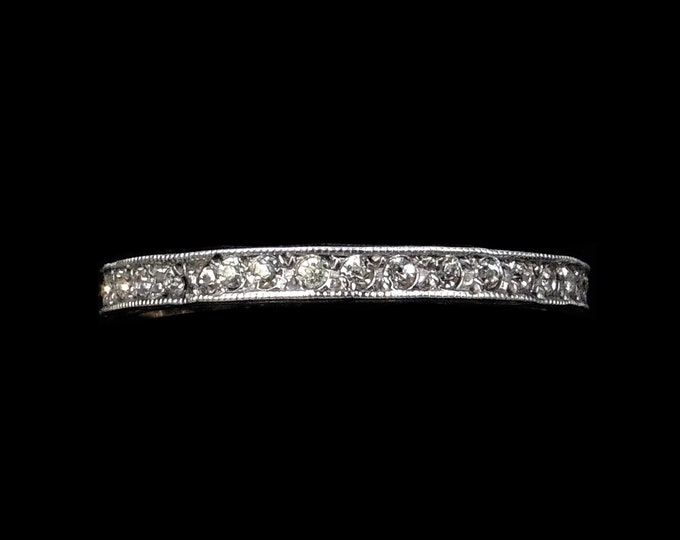 Antique Old Cut Paste Sterling Silver Full Eternity Band Ring | Art Deco Circa. 1920