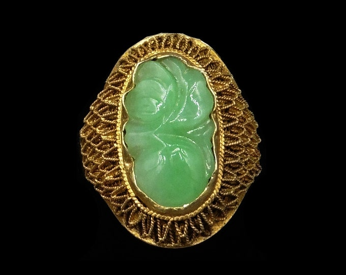 Vintage Carved Jade Jadeite Oval Filigree Gold on Silver Statement Ring | Antique C.1930