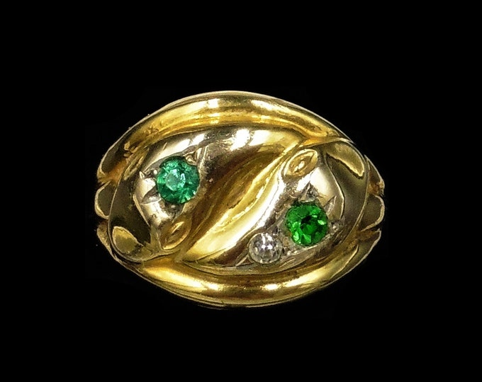Antique Double Snake Serpent Green Paste 9ct Gold and Silver Ring   Victorian Circa.1890