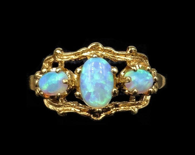 Ornate Opal Trilogy Three Stone 18ct Yellow Gold Gilded Ring | Antique Victorian Style